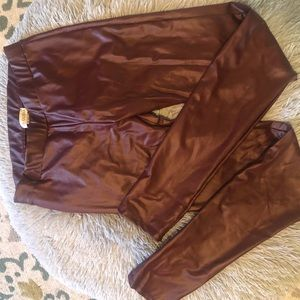 GUESS Burgundy Faux Leather Leggings